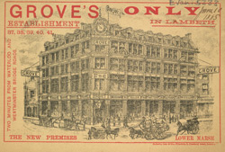 Advert for Grove's Clothier